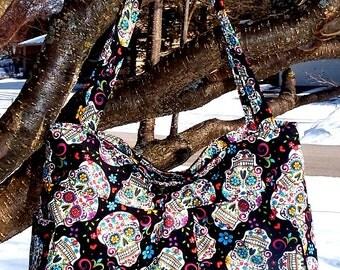 Colorful Floral Sugar Skulls - Pleated Bag, Purse, Shoulder Bag, Hobo, Outside Pockets