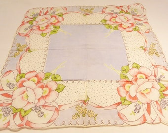 Hanki flower print cotton vintage 50's handkerchief flowers on light blue background polka dot scalopted edge