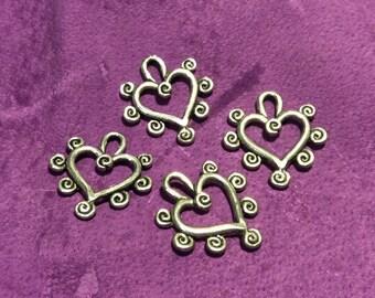 Swirl Heart Pewter Charm