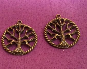 Tree of Knowledge Pewter Charms Gold