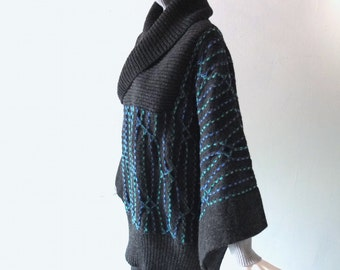 80s Black Teal Wool Knit Sweater - Ripping Yarnz - Made in England - OSFA - Shawl Collar - Cozy Winter Hand Knit - Hand Washable