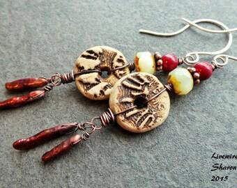 Ceramic Tribal Earrings, Red Boho Dangle Earrings, Tribal Primitive Copper Dangles