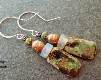 Primitive Ceramic Earrings, Green Tribal Creamic Earrings, Copper, Tribal, Earthy Earrings