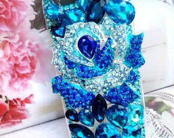 Just blue, blue tone floral style cellphone cover