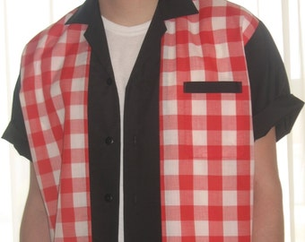 Men's Rockabilly Shirt Jac Red and White Plaid