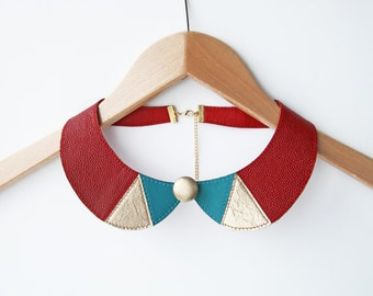 Leather Bib Necklace Burgundy Gold Blue Peter Pan Detachable Collar Leather Jewelry Gift for Her