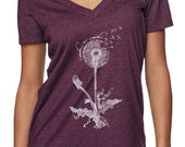 womens tshirt - dandelion shirt - nature tshirts - nature shirt - flower shirt - wish you were here - cancer gifts - MAKE A WISH -deep vneck