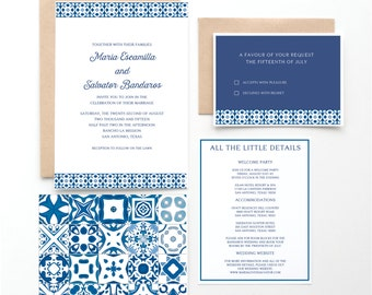 Spanish Tile Wedding Invitation, Mexican or Spanish Destination Wedding, Blue and White Spanish Tiles