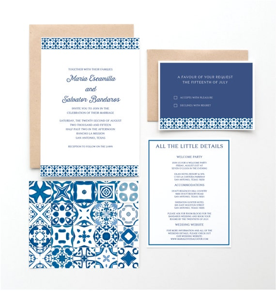 Spanish Tile Wedding Invitation Mexican Or Spanish