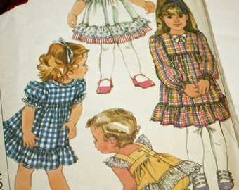 Vintage 1980s, Sewing Pattern, Simplicity 7411, Toddler's Dress, Pinafore and Panties, Size 1/2 to 1