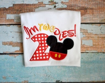 I'm twodles Mickey Mouse Birthday Shirt, Boys birthday Shirt, Mickey Mouse Birthday Party Shirt