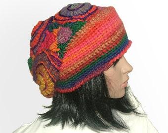 Freeform Beanie Hat Beret OOAK Freeform Crochet in Rainbow colours