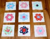 Hexagon Applique Quilt Blocks, 1930's Reproduction Feedsack Fabrics