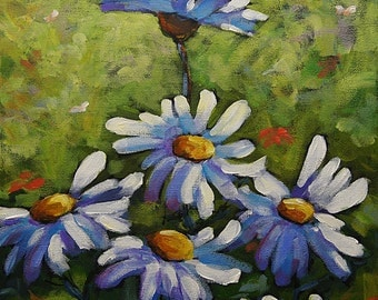 Top Of The Bunch Daisies  - Small Original Acrylic Painting - Floral Scene- Created by Prankearts