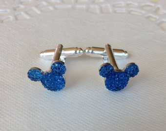 MOUSE EARS Cufflinks for Wedding Party in Dazzling Royal Blue Acrylic