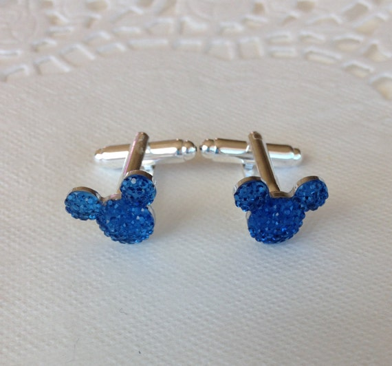 MOUSE EARS Cufflinks for Wedding Party in Dazzling Royal Blue Acrylic Gift Box Included for FREE Groom or Groomsmen Gift