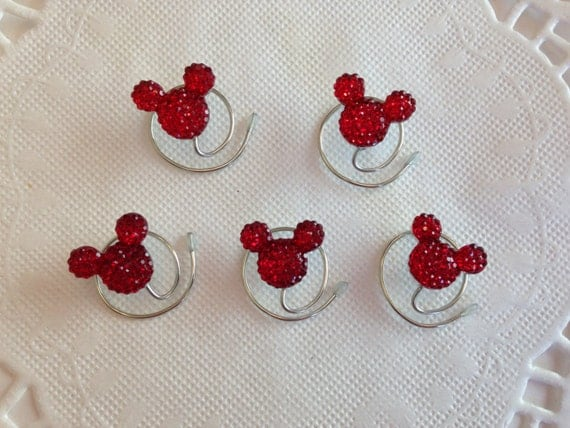 MOUSE EARS Hair Swirls for Disney Wedding in Dazzling Bright Red Acrylic