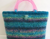 Turquoise Teal Pink Handled Hand Knitted Felted And Custom Lined