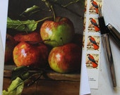Floral Fine Art Blank Note Card with Heirloom Apples Leaves by Elizabeth Floyd