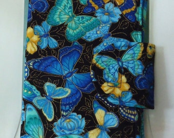 E-Reader Cover. Nook Cover. Kindle Cover. Reader Case. Electronic Case. Butterflies. Blue. Handmade. One of a Kind