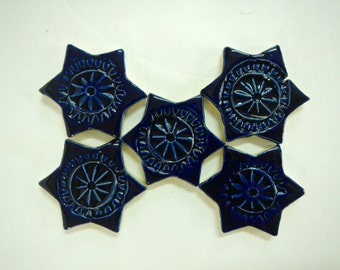 Cobalt Blue Mosaic Star Tiles
