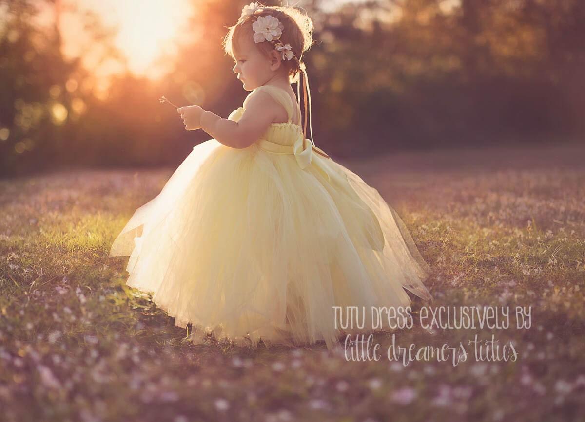 Sweet Yellow Flower Girl Tutu Dress