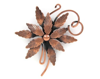 Forest Find - Large Renoir Copper Flower Brooch, Curled Tendrils / Vines, Highly Detailed Textured Petals, 1950s Modernist Pin Oversize