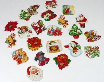 Vintage Christmas Stickers - 20 gummed labels