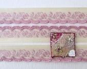 Vintage Trim Woven Jacquard Ribbon Ivory Pink Flowers Leaves Scalloped Japan rib0195 (1 yard)
