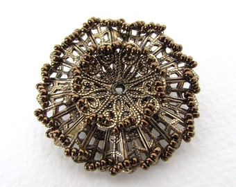 Vintage Japanese Flower Brooch Filigree Bronze Seed Beads Metal Pin Antiqued Brass Finding Japan vfd0255 (1)
