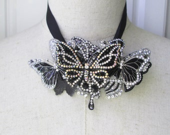 Black Silver Butterfly Collage Necklace, Vintage Brooch Rhinestone Assemblage