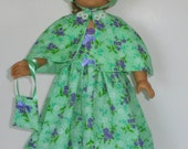 Green, purple and white Colonial dress Created for American Girl doll  Felicity or Elizabeth 4 piece outfit No. 642
