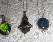 Sterling Silver Chain with Choice of Sterling Silver and Precious Stone Cabochon Pendent