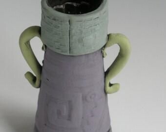 HANDMADE, Vase, Bud Vase, Clay Flower Vase, Stamped Vase, Flower Vase, Ceramic Vase