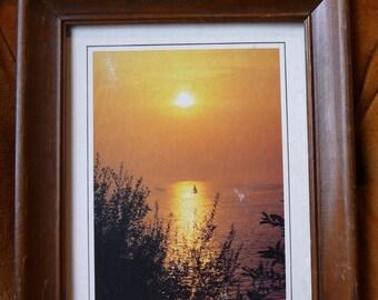 SALE vintage Sunset, framed picture, vintage frame, vintage wall hanging, art, Sailboat, Sunrise, unique picture, home decor,brown orange