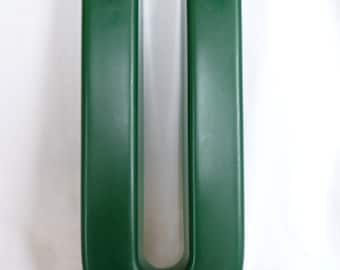 vintage U Letter, green plastic letter, commercial letter, mounting supports, thick plastic,vintage wall art,wall hanging,church sign letter