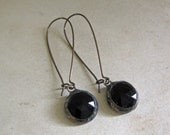 Black Faceted Glass Earrings Long Arched Earwires