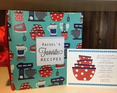 Recipe Shower Package: Recipe Album and Printable Shower Invitation and Recipe Card, pick your fabric and colors