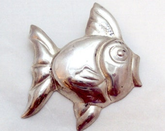 Large Sterling Silver Puffer Fish Pin Taxco