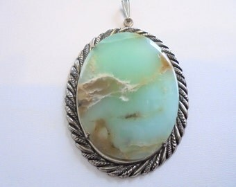 Vintage Silver Tone Large Pendant w/ Natural Cut Quartz Oval Shaped