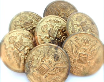 Metal Buttons, Vintage Military Buttons, Eagle Medallion Bird Wings Sewing Supplies Coat of Arms, Brooklyn NY, VC Corp, America USA