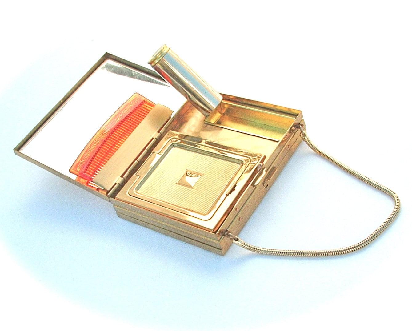 Vintage Compact Coin Purse Case Lipstick Holder Woven Gold