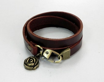 Brown Leather Charm Bracelet Leather Bracelet with Bronze Metal Rose Charm