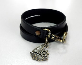 Black Leather Bracelet Leather Charm Bracelet Leather Cuff with Metal Sail Boat Charm Bronze Tone