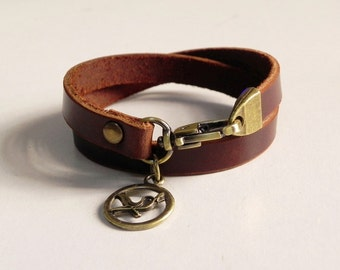 Leather Bracelet Leather Cuff Double Round Wrap Brown Color with Metal Bird Charm