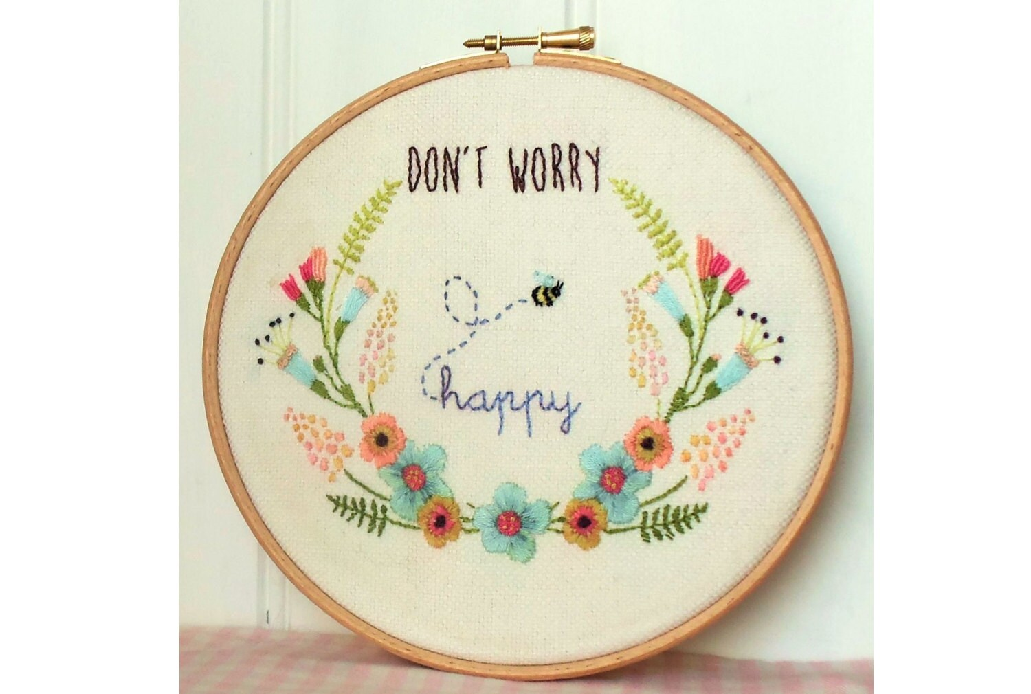 Don t worry be happy embroidery hoop art pattern pdf