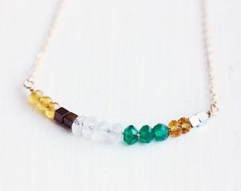 Mixed Gem Bar Necklace
