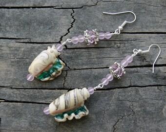 Glass Seashell and Cultured Sea Glass Earrings