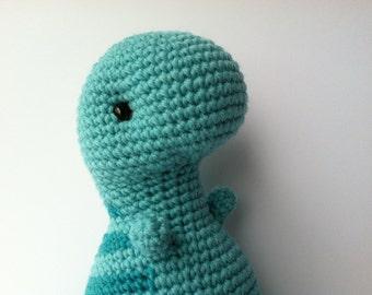 Amigurumi Crochet Aqua T-Rex Plush Toy Kawaii Plush Dinosaur Nursery Decor Dinosaur Plushie Stuffed Animal T-Rex Doll Crochet Dinosaur