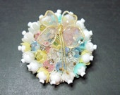 Vintage Beaded Pin - Butterfly - Flowers - Pastel - Crystals - Pink - Blue - Yellow - White - 1950s to 1960s